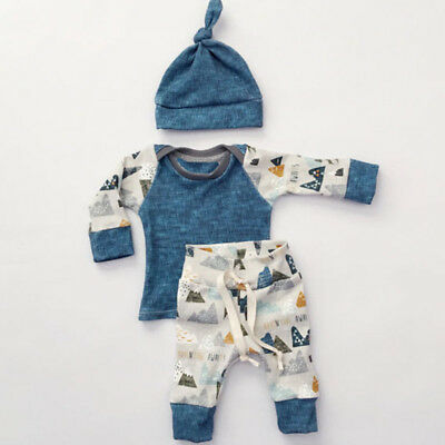 Newborn Infant Baby Kids Boy Girl Clothes Cotton T-shirt Tops+Hat+Pants Outfit