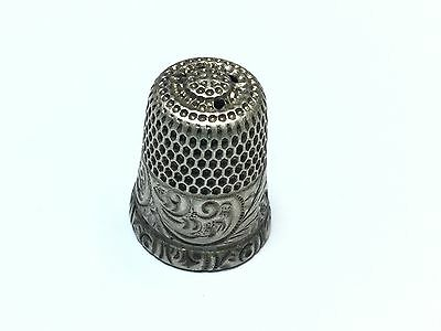 """Antique .925 Sterling Silver Thimble - Signed """"7"""" - Unique - Patina! FREE S&H"""