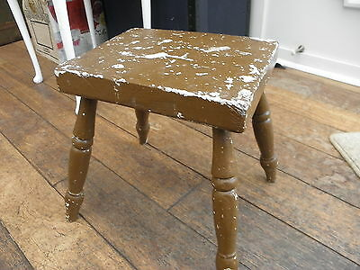 Vintage Very Strong & Heavy Distressed Farmhouse Wooden Stool Painted Brown