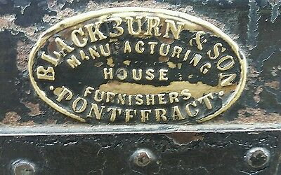 A Lovely Rare Victorian Dome Topped Tin Trunk Blackburn & Son Pontefract Maker