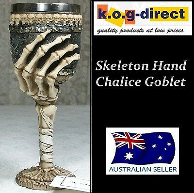 Gothic Skeleton Hand Bones Goblet Chalice With Stainless Steel Insert New