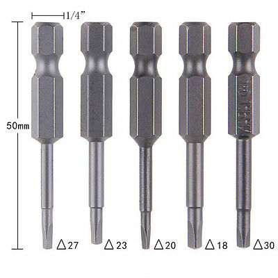 5 Pcs /Set Magnetic Triangle Heads Screwdriver Bits S2 Steels 1/4 Hex Shank LAUS