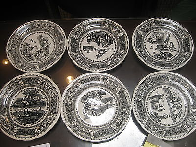 6 Vintage French Puzzle Plate  Gien Rebus Plate No. 1 - 6 French Transferware