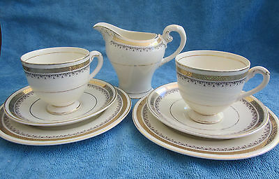 vintage 7 piece MYOTT 5796 HIGH TEA set - 2 TEA TRIOS & MILK JUG cream & gold