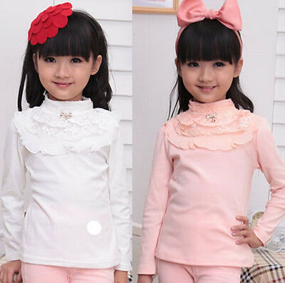 Girl Kids Toddler Pretty Lace Long Sleeve Tops T-shirts Cowl Neck Ruffled Shirts