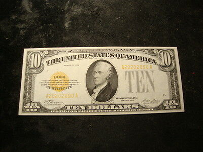 1928 CU Sharp $10.00 Small  Size Gold Certificate Nice Type Note