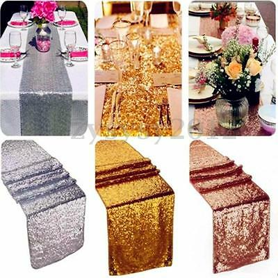 """Red/Gold/SilverGlitter Sequin Table Runner Sparkly Wedding Party Decor  12""""x108"""""""