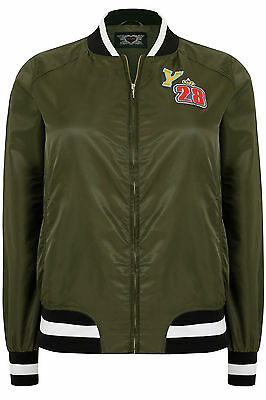 Yoursclothing Plus Size Womens Lightweight Bomber Jacket With Badges