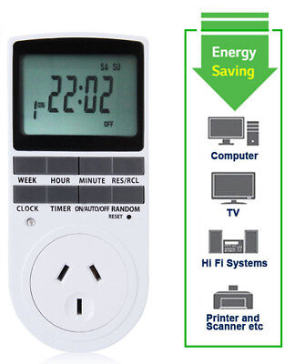 Programmable Digital LCD Plug-in Timer Socket Switch 240V AU Plug min hour week