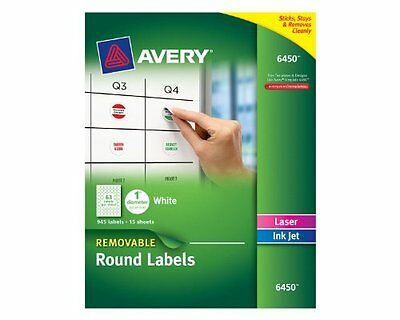Avery Removable Round Labels, 1-Inch Diameter, White, Pack of 945 6450 NEW
