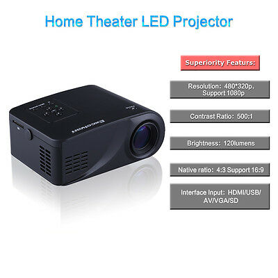 Mini Proyector Video Teatro Hogar PC LED Projector Portable HD AV TV VGA USB SD