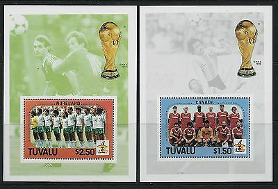 1986 TUVALU FOOTBALL WORLD CUP MEXICO MINISHEETS x2 MINT MNH