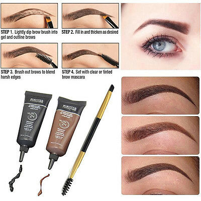 2PCS Brown Waterproof Tint Eyebrow Henna With Mascara + Eyebrows Paint Brush
