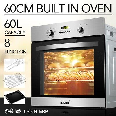 Electric Convection 60CM Built in Wall Oven Grill Stainless Steel Fan Forced 8F