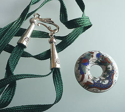 Cloisonne Round Pendant with Green Silk Necklace China Taste .9g. 11-6