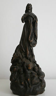 Antique French Wooden Statue Of Mary With Angels. Indistinctly Signed.