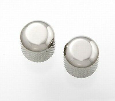 NEW - Guitar Dome Knobs (2) For USA Solid Shaft Pots - NICKEL