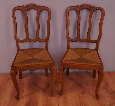 1031 !! Wonderful Oak Set Of 2 Chairs In Louis Xv Style  !!