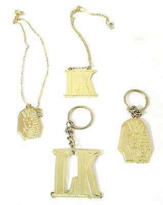 Tyga Last Kings Pharaoh Lk Logos Gold-Colored Keychain Necklace 4 Pc Set New Rap