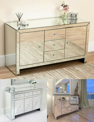 New Mirrored 4 6 Drawer Chest Tallboy Silver Shabby Chic Mirror Furniture