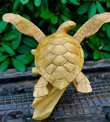 Sea Turtle Statue Wooden Sculpture Natural Root hand carved Bali Art