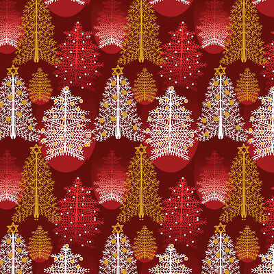 Fat Quarter Season's Greetings Christmas Trees Red 100% Cotton Quilting Fabric