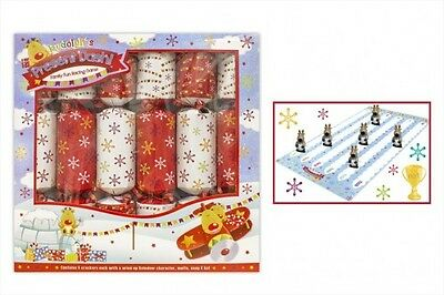 Christmas Crackers Family Fun Kids Game Gift Racing Pack of 6 Red White Xmas