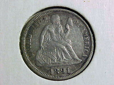United States 1891 Seated Dime XF