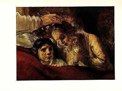 "1956 VINTAGE REMBRANDT /""JACOB BLESSING THE SONS OF JOSEPH/"" BIBLE ART LITHOGRAPH"