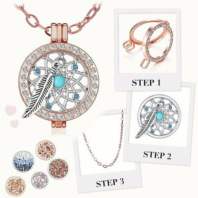33MM MY Coin Mi Crystal CZ Disc Charms Locket Pendant Long Necklace Family Gifts