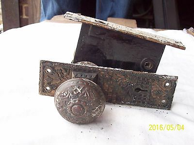 Antique Exterior Entry Door Lockset Plate  knob Lock late 1800s