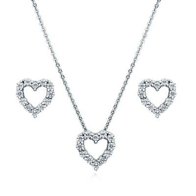BERRICLE Sterling Silver Cubic Zirconia CZ Open Heart Bridal Bridesmaid Set