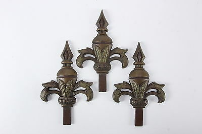 3 JUDD Curtain Rod Ornamental Finials Cast Metal Fleur De Lis Shape Art Nouveau