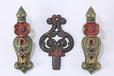 2 Antique Curtain Tie-Backs & 1 Ornamental Finial Cast Metal Art Nouveau Style