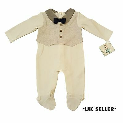 Baby Boys Tuxedo Smart Outfit Wedding Christening Suit Formal Bow Tie Playsuit