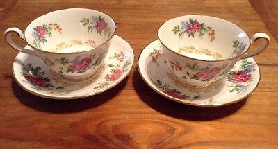 (2) Royal Chelsea Bone China Tea Cup and Saucer Flowers with Gold Trim