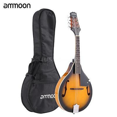 ammoon A-Style 8 Strings Basswood Body Mandolin Portable with Bag Yellow G1M6
