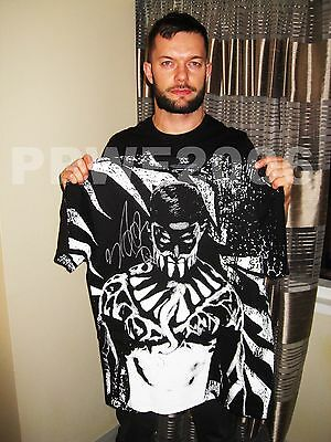 Wwe Finn Balor Hand Signed Adult Demon T Shirt With Exact Picture Proof & Coa 2