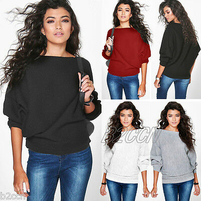 Women Batwing Sleeve Knitted Pullover Blouse Loose Sweater Jumper Tops Knitwear