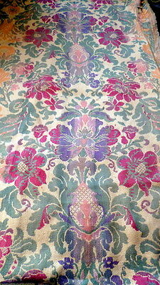 "Antique French Floral Jacquard Fabric Heavy Silk Weave 72"" x 97"""