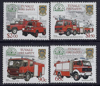 2001 Tuvalu Fire Safety: Fire Engines Set Of 4 Fine Mint Mnh/muh