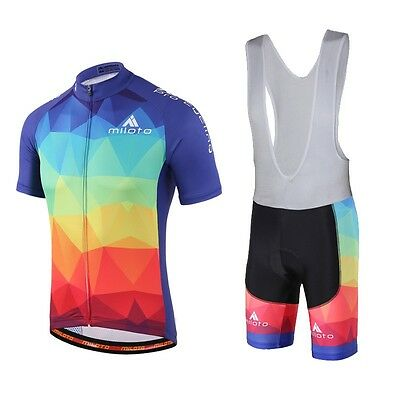 New Colorful MILOTO Hommes Cycling Jersey et Vêtements Vélo Kit (Bib) Shorts Set