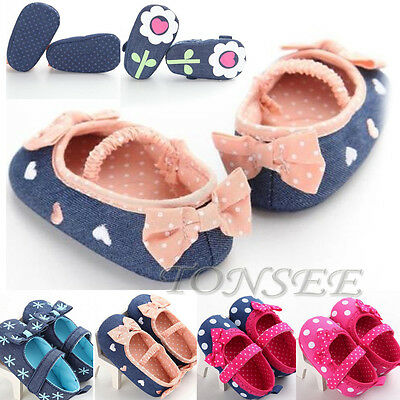 Cute Bow Infant Newborn Toddler Baby Boy Girls Cotton Soft Sole Crib Shoes 0-18M