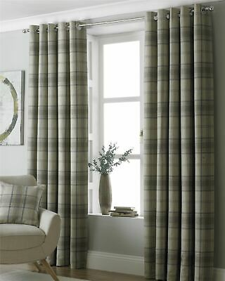 Tartan Check Woven Wool Look Beige Ring Top Curtains *7 Sizes*