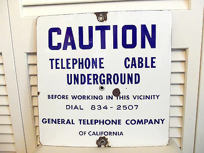 Vintage Porcelain Sign General Telephone Caution Utility Warning California