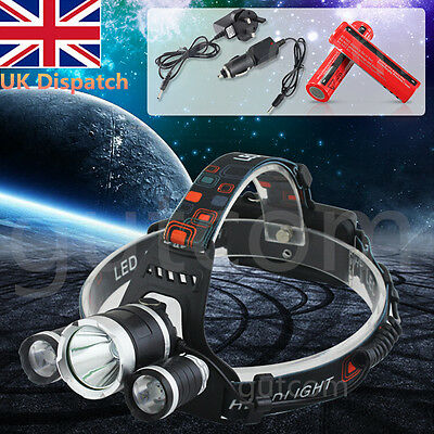 T6 3x CREE XM-L LED Headlamp Head Torch Rechargeable Headlight 12000LM Cycling