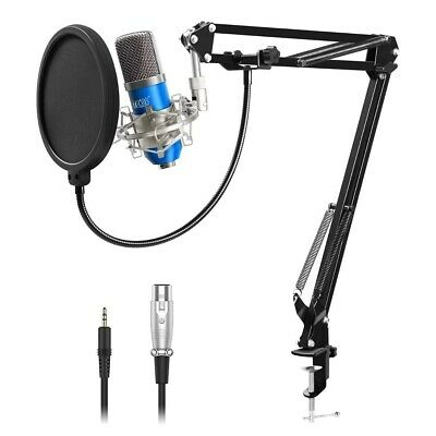 TONOR Professional Studio Recording Condenser Microphone Mic with Stand Blue