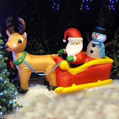 Inflatable Santa Sleigh Reindeer & Snowman Outdoor Christmas Garden Decoration