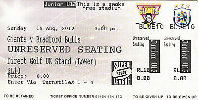 Ticket - Huddersfield Giants v Bradford Bulls 19.08.2012