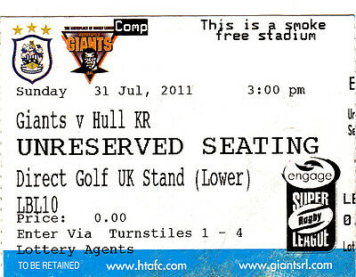 Ticket - Huddersfield Giants v Hull Kingston Rovers 31.07.2011